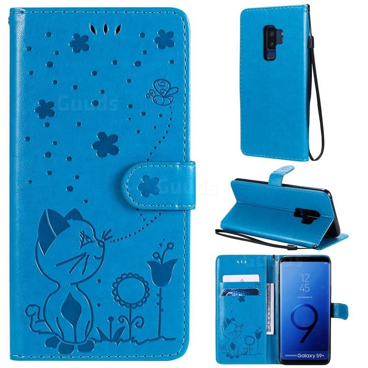 Embossing Bee and Cat Leather Wallet Case for Samsung Galaxy S9 Plus(S9+) - Blue