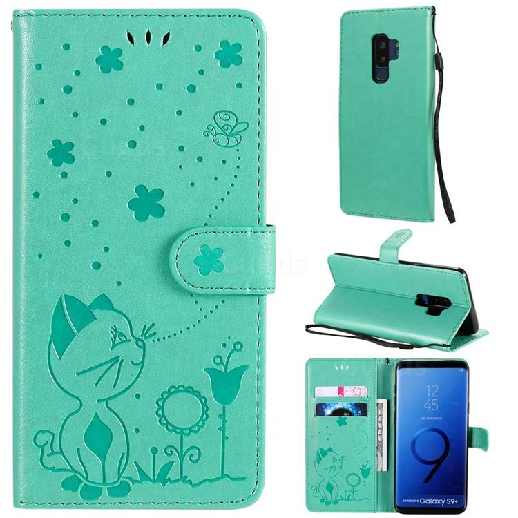 Embossing Bee and Cat Leather Wallet Case for Samsung Galaxy S9 Plus(S9+) - Green
