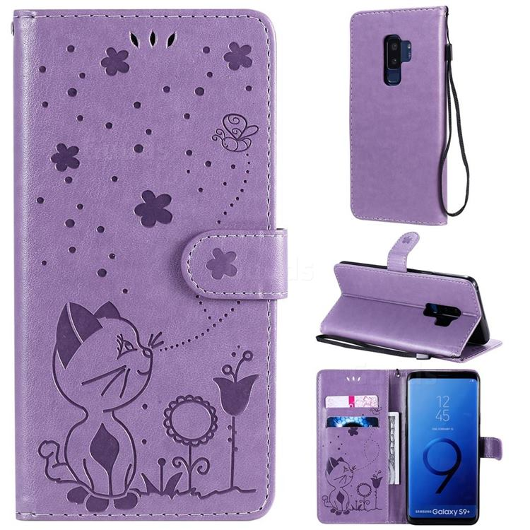 Embossing Bee and Cat Leather Wallet Case for Samsung Galaxy S9 Plus(S9+) - Purple