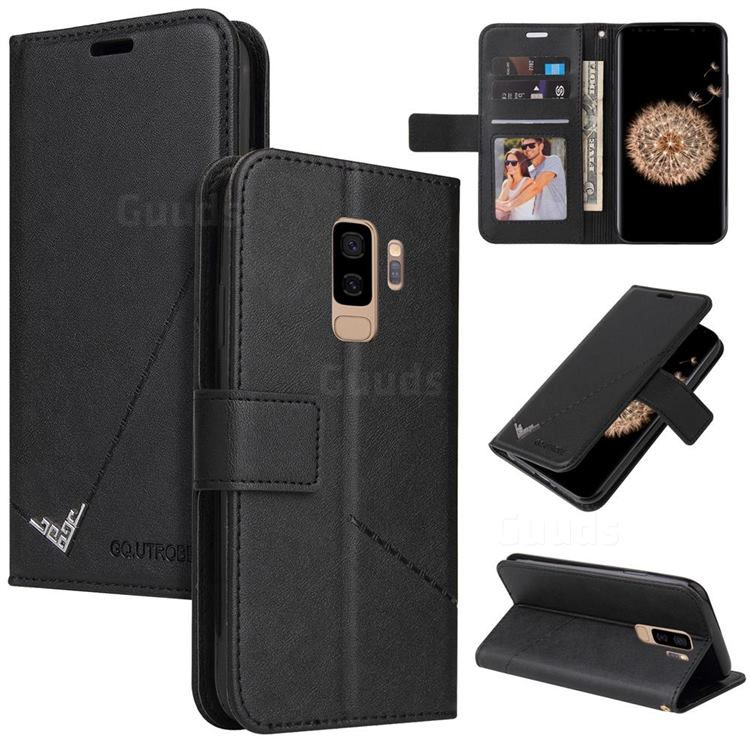 GQ.UTROBE Right Angle Silver Pendant Leather Wallet Phone Case for Samsung Galaxy S9 Plus(S9+) - Black