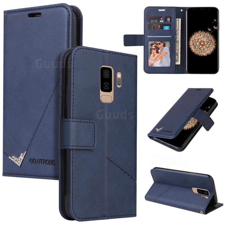GQ.UTROBE Right Angle Silver Pendant Leather Wallet Phone Case for Samsung Galaxy S9 Plus(S9+) - Blue