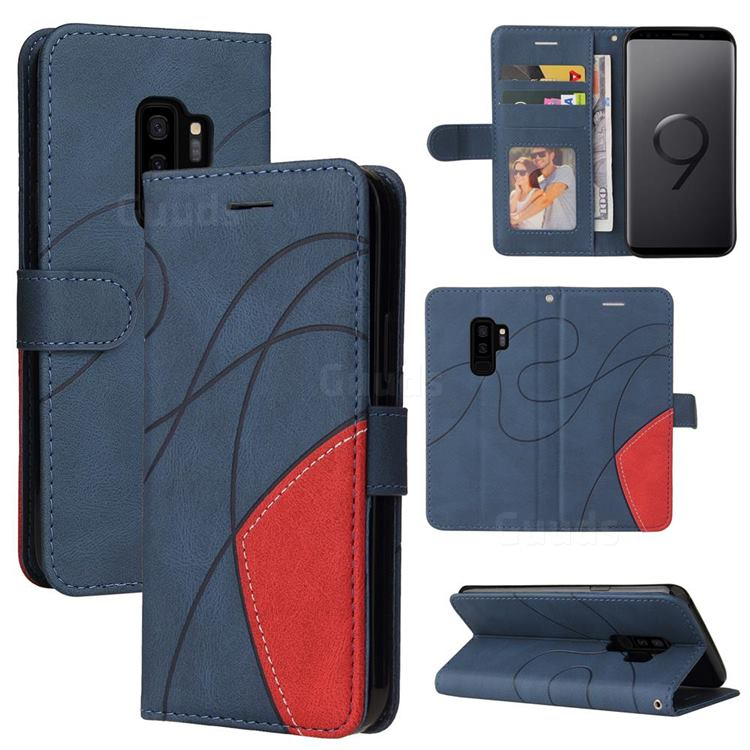 Luxury Two-color Stitching Leather Wallet Case Cover for Samsung Galaxy S9 Plus(S9+) - Blue
