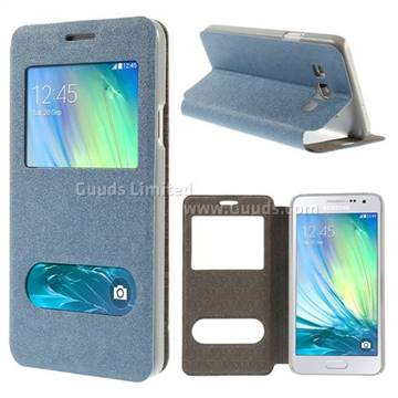online retailer 68d4f 3baa6 Dual Windows View Gold-Sand Leather Flip Cover for Samsung Galaxy A3 A300  A300F - Blue - Leather Case - Guuds