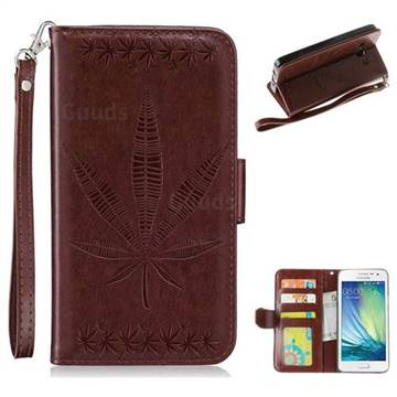 Intricate Embossing Maple Leather Wallet Case for Samsung Galaxy A3 2015 A300 - Brown