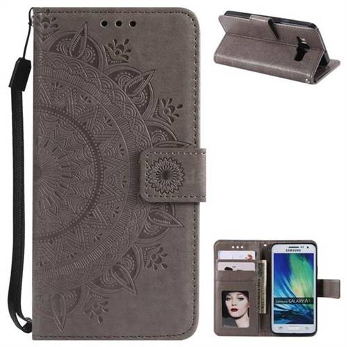 Intricate Embossing Datura Leather Wallet Case for Samsung Galaxy A3 2015 A300 - Gray