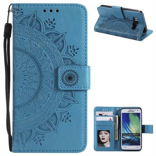 Intricate Embossing Datura Leather Wallet Case for Samsung Galaxy A3 2015 A300 - Blue