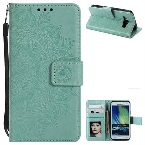 Intricate Embossing Datura Leather Wallet Case for Samsung Galaxy A3 2015 A300 - Mint Green