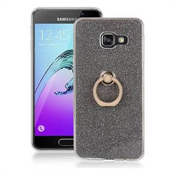 Luxury Soft TPU Glitter Back Ring Cover with 360 Rotate Finger Holder Buckle for Samsung Galaxy A3 2016 A310 - Black