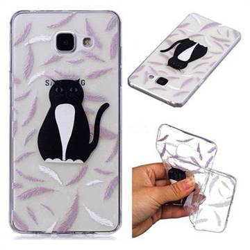Feather Black Cat Super Clear Soft TPU Back Cover for Samsung Galaxy A3 2016 A310