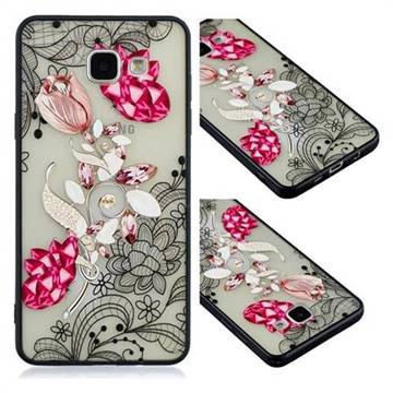 Tulip Lace Diamond Flower Soft TPU Back Cover for Samsung Galaxy A3 2016 A310