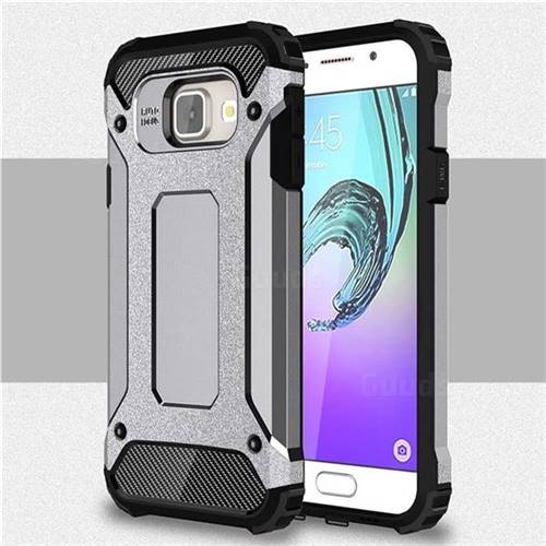 King Kong Armor Premium Shockproof Dual Layer Rugged Hard Cover for Samsung Galaxy A3 2016 A310 - Silver Grey