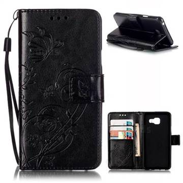 Embossing Butterfly Flower Leather Wallet Case for Samsung Galaxy A3 2016 A310 - Black