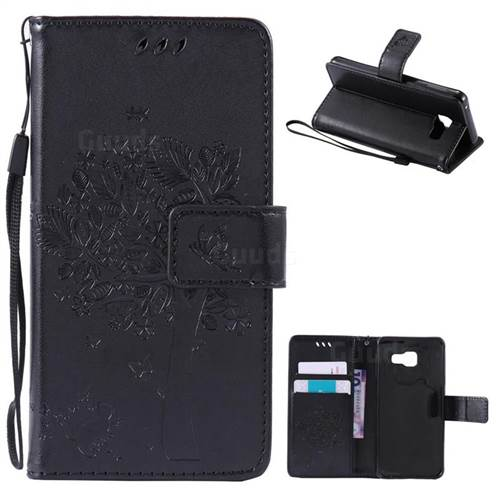 Embossing Butterfly Tree Leather Wallet Case for Samsung Galaxy A3 2016 A310 - Black