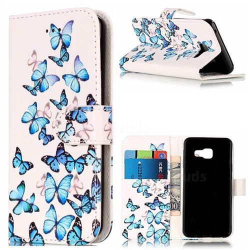 Blue Vivid Butterflies PU Leather Wallet Case for Samsung Galaxy A3 2016 A310