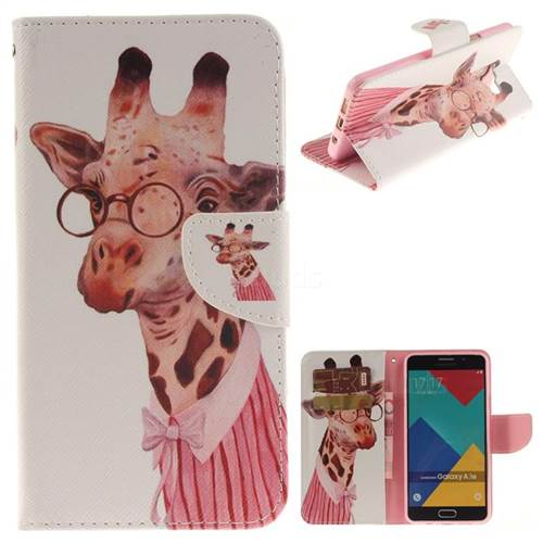 Pink Giraffe PU Leather Wallet Case for Samsung Galaxy A3 2016 A310