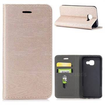 Tree Bark Pattern Automatic suction Leather Wallet Case for Samsung Galaxy A3 2016 A310 - Champagne Gold