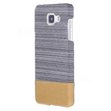 Canvas Cloth Coated Plastic Back Cover for Samsung Galaxy A3 2016 A310 - Light Grey