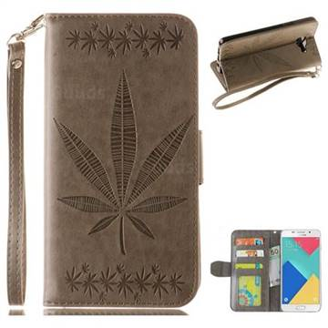 Intricate Embossing Maple Leather Wallet Case for Samsung Galaxy A3 2016 A310 - Gray