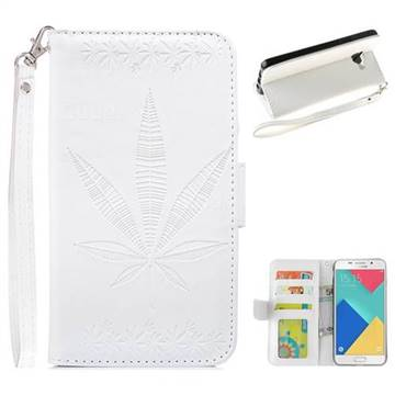 Intricate Embossing Maple Leather Wallet Case for Samsung Galaxy A3 2016 A310 - White