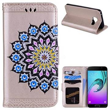 Datura Flowers Flash Powder Leather Wallet Holster Case for Samsung Galaxy A3 2016 A310 - Golden
