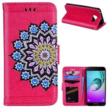 Datura Flowers Flash Powder Leather Wallet Holster Case for Samsung Galaxy A3 2016 A310 - Rose