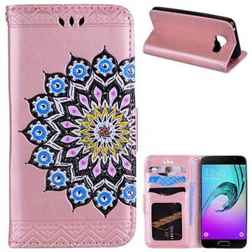 Datura Flowers Flash Powder Leather Wallet Holster Case for Samsung Galaxy A3 2016 A310 - Pink