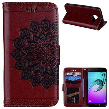 Datura Flowers Flash Powder Leather Wallet Holster Case for Samsung Galaxy A3 2016 A310 - Brown
