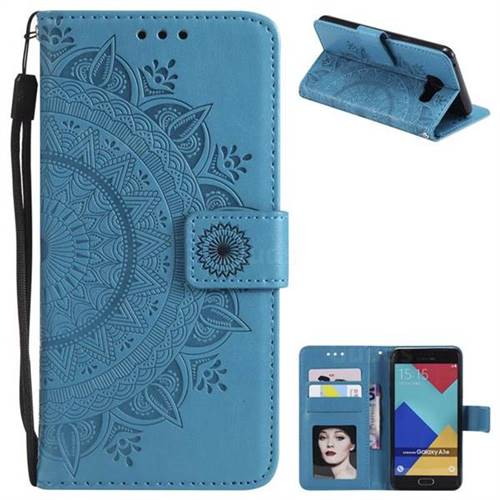 Intricate Embossing Datura Leather Wallet Case for Samsung Galaxy A3 2016 A310 - Blue