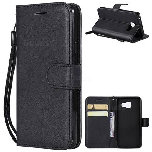 Retro Greek Classic Smooth PU Leather Wallet Phone Case for Samsung Galaxy A3 2016 A310 - Black