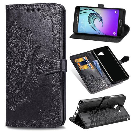 Embossing Imprint Mandala Flower Leather Wallet Case for Samsung Galaxy A3 2016 A310 - Black