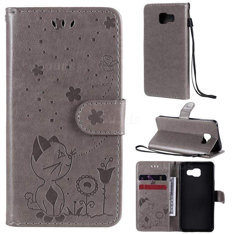 Embossing Bee and Cat Leather Wallet Case for Samsung Galaxy A3 2016 A310 - Gray