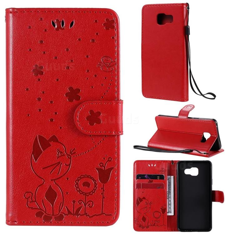 Embossing Bee and Cat Leather Wallet Case for Samsung Galaxy A3 2016 A310 - Red