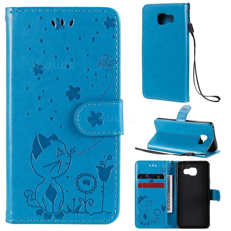 Embossing Bee and Cat Leather Wallet Case for Samsung Galaxy A3 2016 A310 - Blue