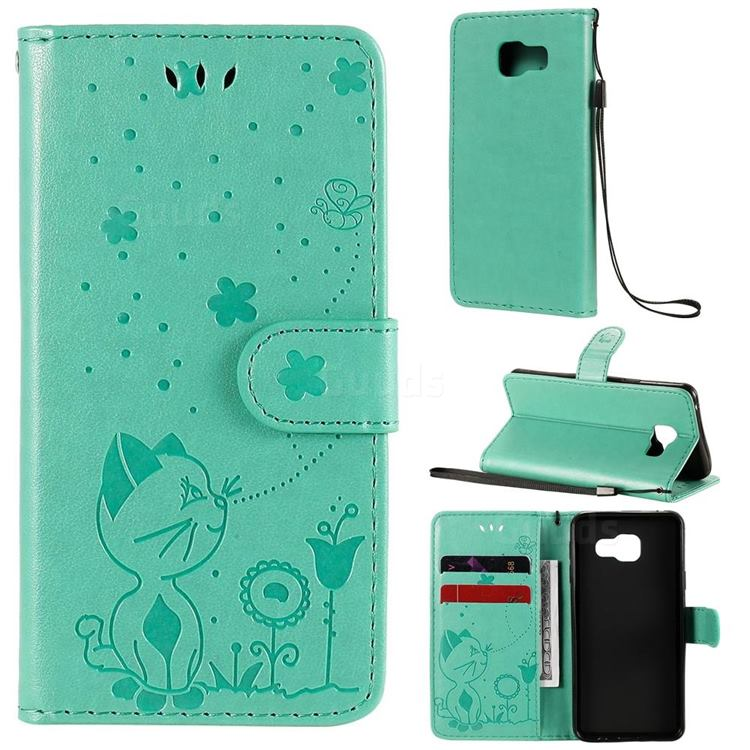 Embossing Bee and Cat Leather Wallet Case for Samsung Galaxy A3 2016 A310 - Green