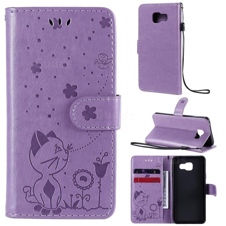 Embossing Bee and Cat Leather Wallet Case for Samsung Galaxy A3 2016 A310 - Purple