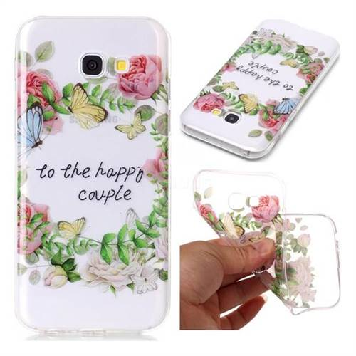 Green Leaf Rose Super Clear Soft TPU Back Cover for Samsung Galaxy A3 2017 A320