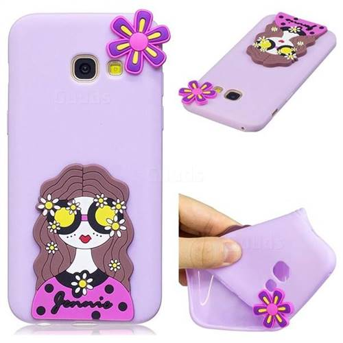 Violet Girl Soft 3D Silicone Case for Samsung Galaxy A3 2017 A320
