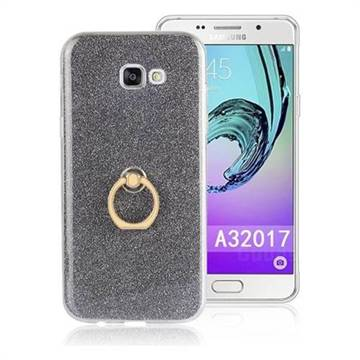 Luxury Soft TPU Glitter Back Ring Cover with 360 Rotate Finger Holder Buckle for Samsung Galaxy A3 2017 A320 - Black