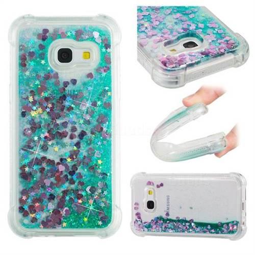 Dynamic Liquid Glitter Sand Quicksand TPU Case for Samsung Galaxy A3 2017 A320 - Green Love Heart