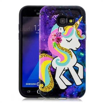 Rainbow Horse Pattern 2 in 1 PC + TPU Glossy Embossed Back Cover for Samsung Galaxy A3 2017 A320