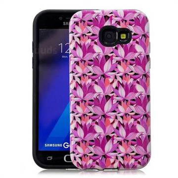 Lotus Flower Pattern 2 in 1 PC + TPU Glossy Embossed Back Cover for Samsung Galaxy A3 2017 A320