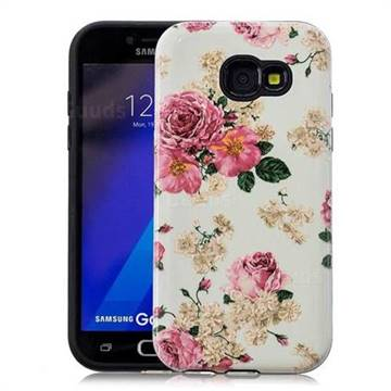 Rose Flower Pattern 2 in 1 PC + TPU Glossy Embossed Back Cover for Samsung Galaxy A3 2017 A320