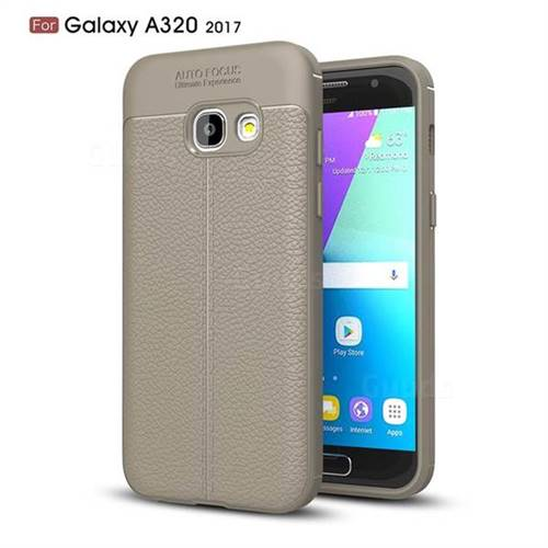 Luxury Auto Focus Litchi Texture Silicone TPU Back Cover for Samsung Galaxy A3 2017 A320 - Gray
