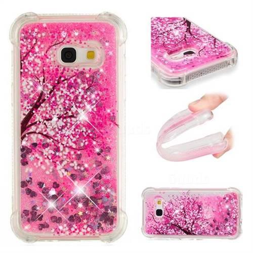 Pink Cherry Blossom Dynamic Liquid Glitter Sand Quicksand Star TPU Case for Samsung Galaxy A3 2017 A320