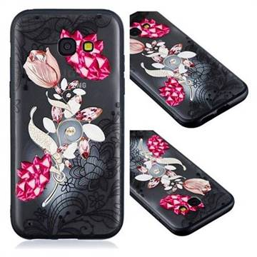 Tulip Lace Diamond Flower Soft TPU Back Cover for Samsung Galaxy A3 2017 A320