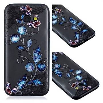Butterfly Lace Diamond Flower Soft TPU Back Cover for Samsung Galaxy A3 2017 A320