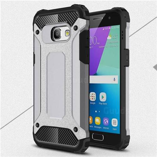 King Kong Armor Premium Shockproof Dual Layer Rugged Hard Cover for Samsung Galaxy A3 2017 A320 - Silver Grey
