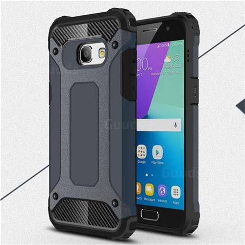 King Kong Armor Premium Shockproof Dual Layer Rugged Hard Cover for Samsung Galaxy A3 2017 A320 - Navy