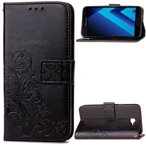 Embossing Imprint Four-Leaf Clover Leather Wallet Case for Samsung Galaxy A3 2017 A320 - Black