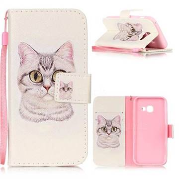 Lovely Cat Leather Wallet Phone Case for Samsung Galaxy A3 2017 A320